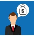 cartoon business man bag money save icon desing vector image