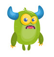 cartoon surprised green horned monster vector image