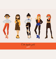 cute girls in hipster street casual style vector image