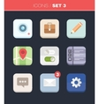 Modern flat icons collection in stylish colors vector image