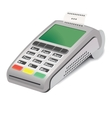 POS terminal with printed reciept on white vector image