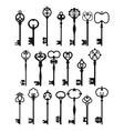 Silhouettes of Vintage Keys vector image