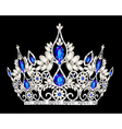 Tiara crown womens wedding with a blue stone vector image