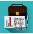 document suitcase infographic glasses pen icon vector image