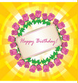 happy birthday - greeting card with roses vector image