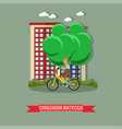 a kid riding bicycle in vector image