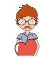 man with mustache and heart in the chest vector image