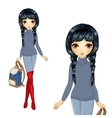 Fashion Girl In Red Boots vector image