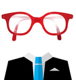 Blue Tie Suit with Empty Face Glasses vector image vector image