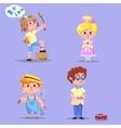 Group of cute happy cartoon kids vector image