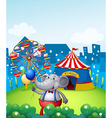 An elephant with balloons in front of a carnival vector image