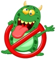Cartoon Stop virus - green virus in red alert sign vector image