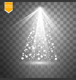 christmas tree made white glitter bokeh lights vector image
