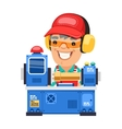 Factory Worker is Working on Lathe Machine vector image