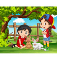 Girls playing with rabbits in the farm vector image