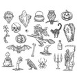 halloween witch monsters sketch icons set vector image