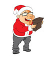 man wearing santa hat and holding a pouch vector image