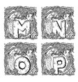 retro mermaid alphabet - m n o p vector image