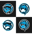 Sharks and dolphins sports logos vector image