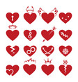 simple abstract heart shapes icons burned vector image