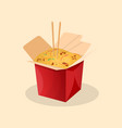 box of wok noodles chinese food vector image