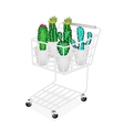 Cactus and Cactus Flowers in Shopping Cart vector image vector image