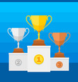 competition winners podium with gold silver and vector image vector image