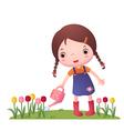 Little Cute Girl Watering Flowers vector image