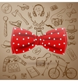 bow tie with hand-drawn Hipster style elements vector image