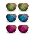 Set of disco glasses vector image