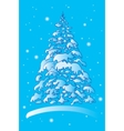 christmas winter tree in the snow vector image vector image