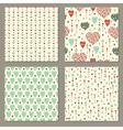 Romantic hearts seamless patterns set vector image