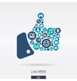 flat icons in a like shape technology social vector image