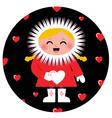 Cute Eskimo girl holding heart design vector image