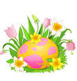Easter egg in a grass vector image