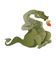 fire-breathing dragon with spoon and knife vector image