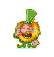 Laughing Leprechaun in green costume vector image
