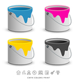 Paint colorful cans with business icons concept vector image