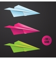 paper origami plane icon Colorful origamy vector image