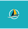 yacht travel ocean logo vector image