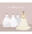 Fashionable Bride Choose Wedding Dress Banner vector image