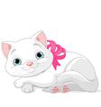 Cute white cat vector image