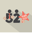 52nd Years Anniversary Typography Design vector image