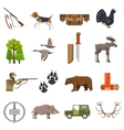 Flat Color Hunting Icons vector image
