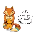 Cute foxes with text I love you so vector image