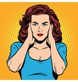 Girl ears closed silence vector image