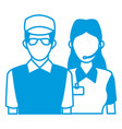 delivery man and woman portrait people worker vector image