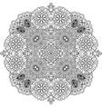 Floral zentangle round decorative element vector image
