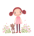 Little girl with her teddy bear vector image
