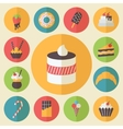 Sweets element set food icons flat design for vector image